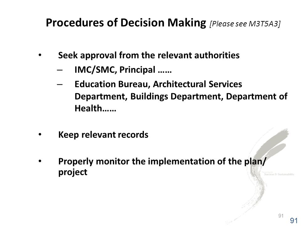 Procedures of Decision Making [Please see M3T5A3]